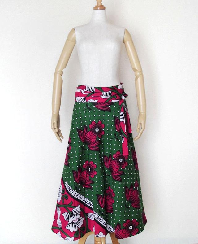 カンガの巻きスカート|アフリカ布スカート / ロング / マキシ丈