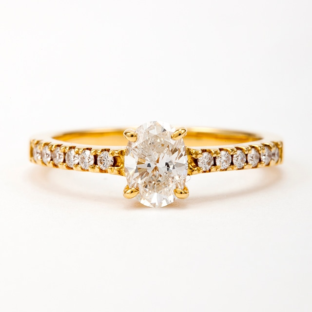 オーバルカット ダイヤモンド リング 0.50ct  K18イエローゴールド  チェカ 鑑別書付