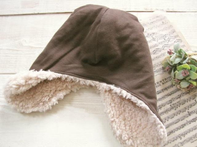 フライングキャップ*帽子 ボア・ブラウン/aco.