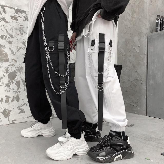 【ボトムス】ファッションレギュラー丈ストリート系金属飾りハイウエストカジュアルパンツ35125767