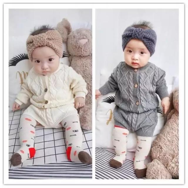 【お取り寄せ】66-90   ケーブル編み ニット セットアップ 子供 キッズ 赤ちゃん 秋冬