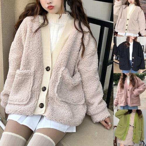 カーディガン もこもこカーディガン 韓国ファッション レディース ボア アウター 暖かい ドロップショルダー ボアジャケット DCT-604923682357