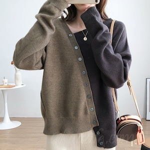 【トップス】ファッション不規則配色シングルブレスト切り替えセーター53283703
