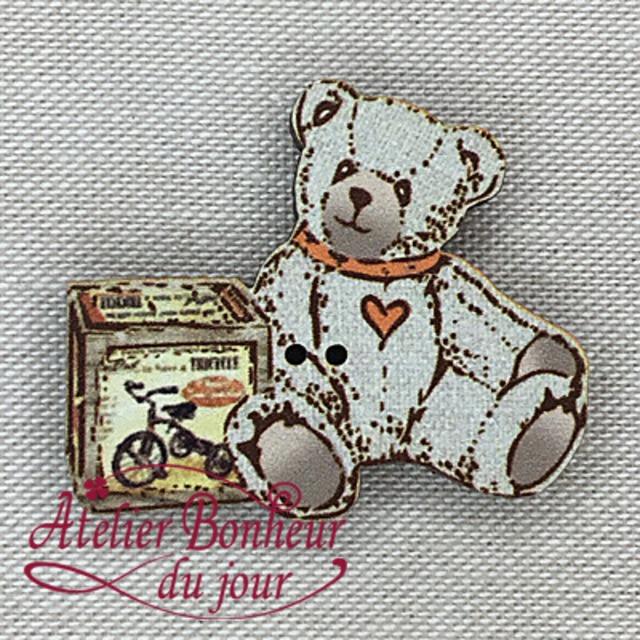 フランス製 木製ボタン アトリエ ボヌール ドゥ ジュール 【Teddy bicyclette】