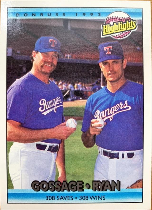 MLBカード 92DONRUSS Gossage & Ryan #555 RANGERS 308SAVE & 308WIN