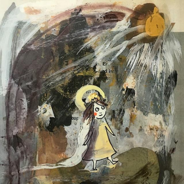 絵画 絵 ピクチャー 縁起画 モダン シェアハウス アートパネル アート art 14cm×14cm 一人暮らし 送料無料 インテリア 雑貨 壁掛け 置物 おしゃれ イラスト 孤高 王女 ロココロ 画家 : mycof 作品 : 孤高の王女
