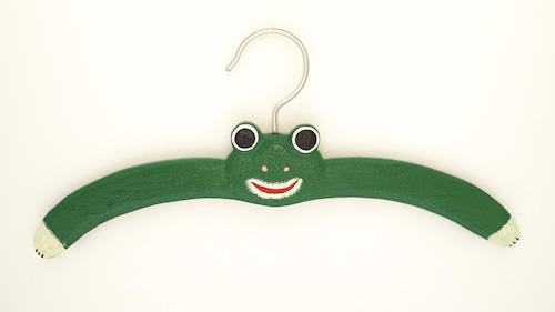 カエルハンガー 木製 木彫り 緑 バリ雑貨