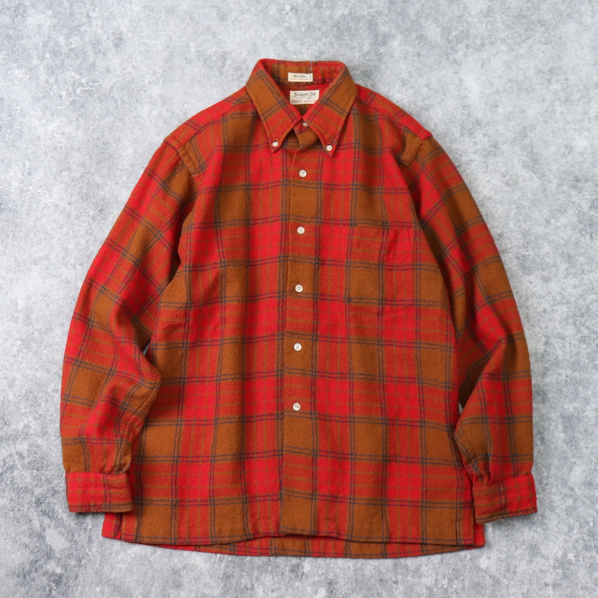 "1960s  "" GANT ""   Wool  Shirts  M b227"