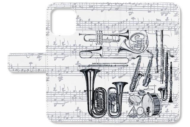 【iPhone用】楽器柄の手帳型スマホケース