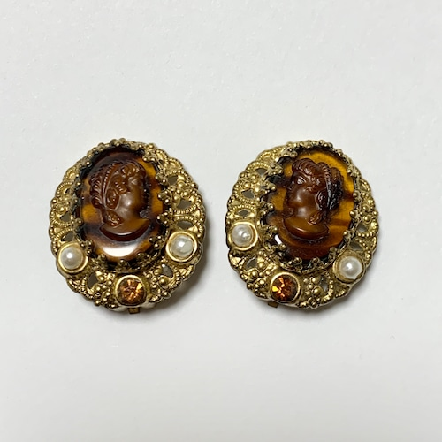 Vintage Faux Filigree & Faux Cameo Earring Made In West Germany