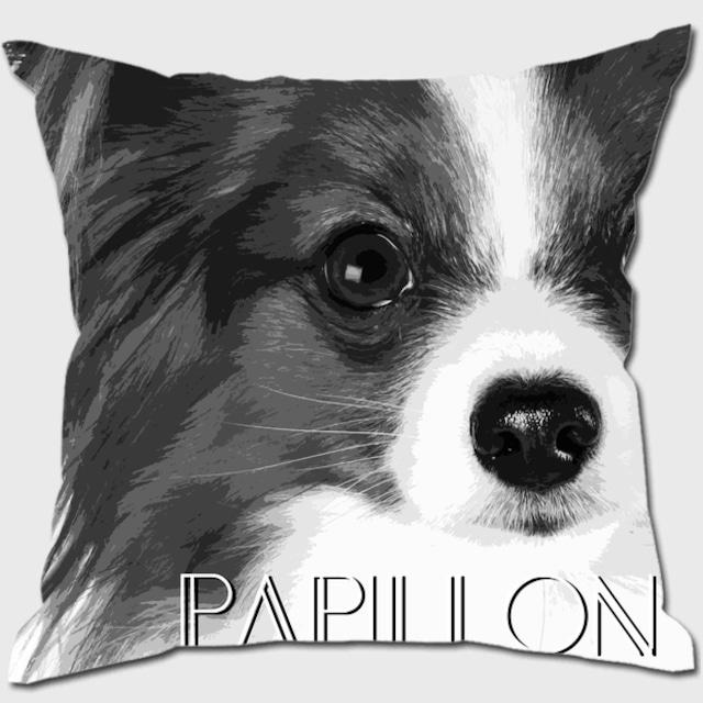 パピヨン 【IMPACT -shirokuro- 犬 クッション】