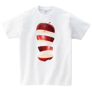 りんご Tシャツ メンズ レディース 半袖 食べ物 シンプル ゆったり おしゃれ トップス 白 30代 40代 ペアルック プレゼント 大きいサイズ 綿100% 160 S M L XL