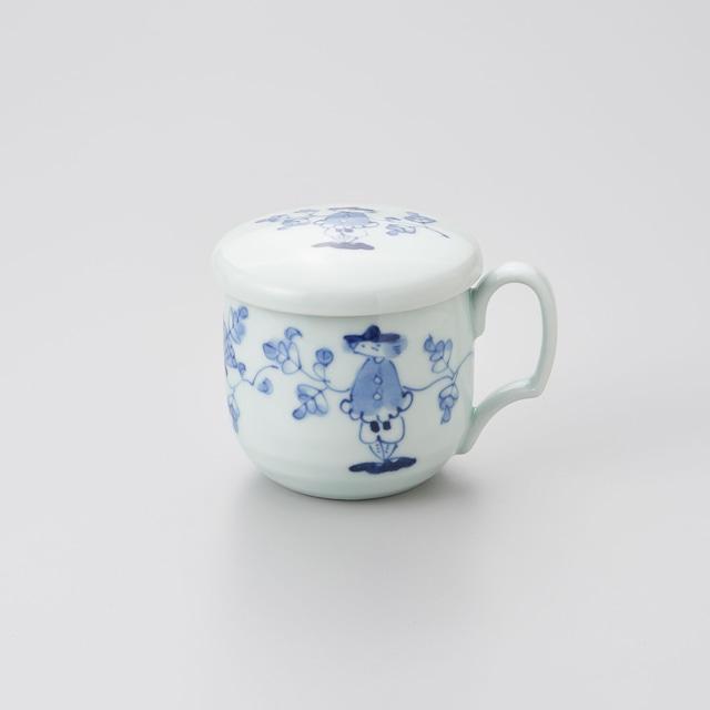 """【青花】""""唐草異人"""" 蓋付フリーマグカップ"""