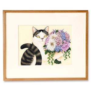 ねことブーケ 原画 / Cat and Bouquet Original Artwork