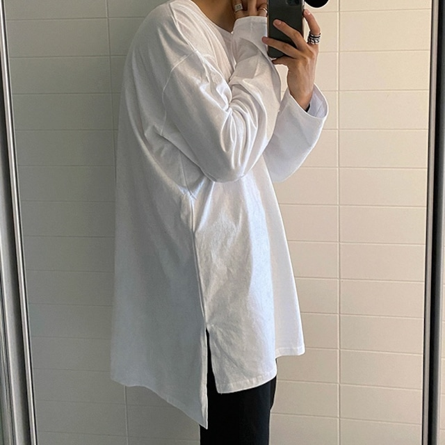 Slit cotton bottoming T-shirt   b-398