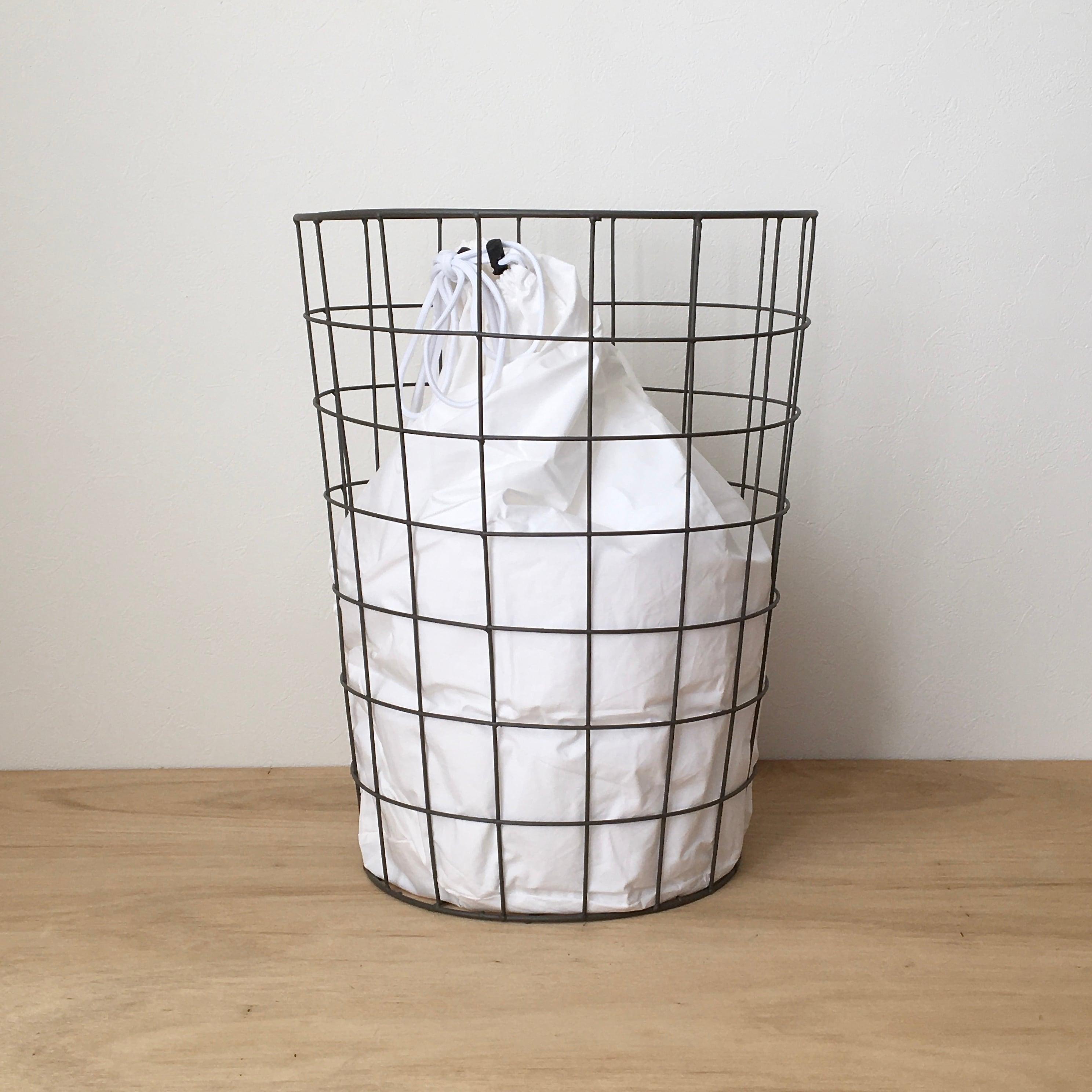 ランドリーバッグ付きワイヤーバスケット Wire Basket w/Plain Laundry Bag(PUEBCO)