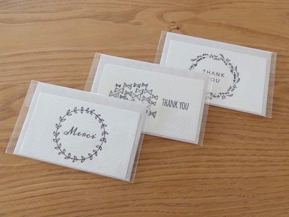"""【活版印刷】小さなカードと封筒 """"ありがとう.A""""3種セット"""