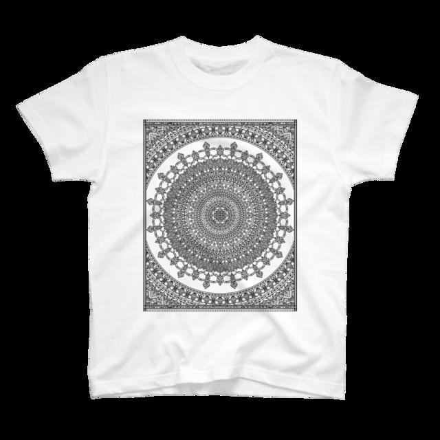 スクウェアマンダラ フロントプリント 半袖 Tシャツ
