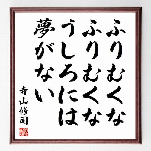 寺山修司の名言書道色紙『ふりむくな、ふりむくな、うしろには夢がない』額付き/受注後直筆(千言堂)Z0257