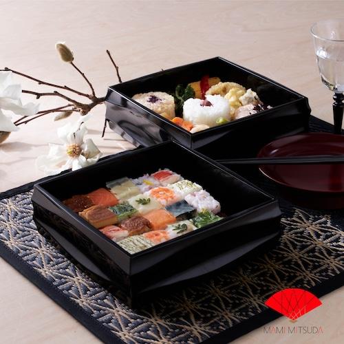 【花ござテーブルマット】麻の葉・縁色ブラック