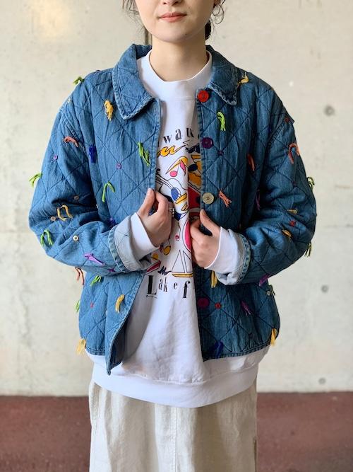 Vintage Denim Quilting Jacket With Multi Color Fringes & Butons