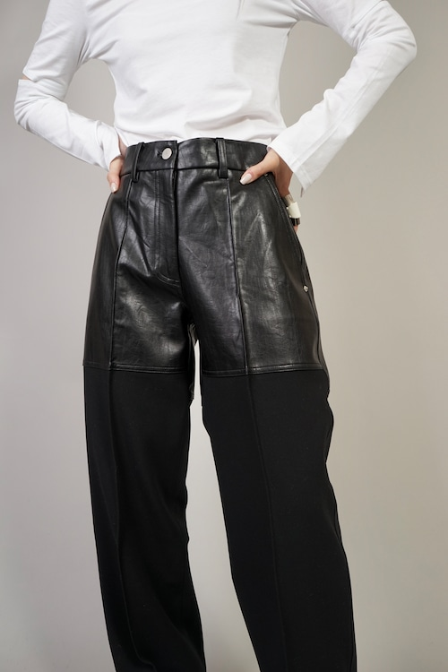 FAUX  LEATHER SWITCHING PANTS  (BLACK) 2102-55-826