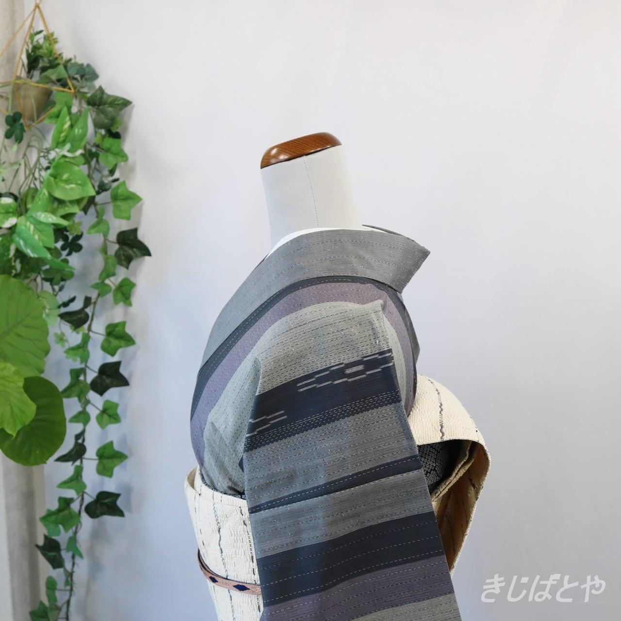 赤城手織り絣 縞小紋 単衣