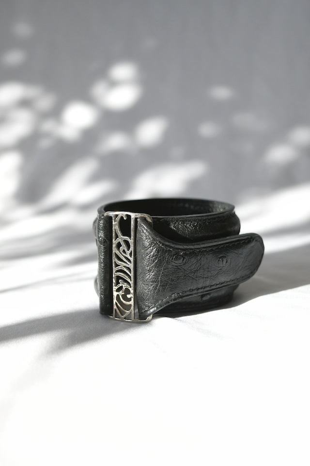 Ostrich Leather Bracelet Black&Silver オーストリッチレザーブレスレット 黒×シルバー