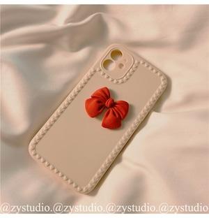 【小物】iPhone case簡約リボン付き無地スマホケース42914037