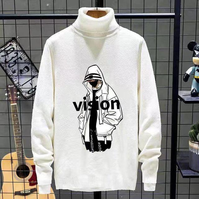 【メンズファッション】個性的なデザイン 暖かい カジュアル  ハイネック メンズファッショ プリント 秋冬 セーター53914845