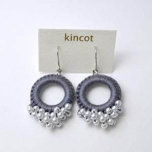 kincot リングパールピアス(グレー)