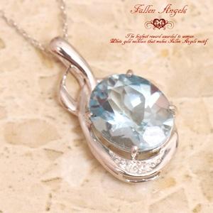 【送料無料】★K10ホワイトゴールド★ブルートパーズスカイ&ダイヤモンド 天使の涙ネックレス