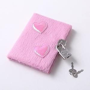 姫系雑貨 ラブカワオリジナル ダブルハートのピンクのフワフワ秘密のノート 通販商