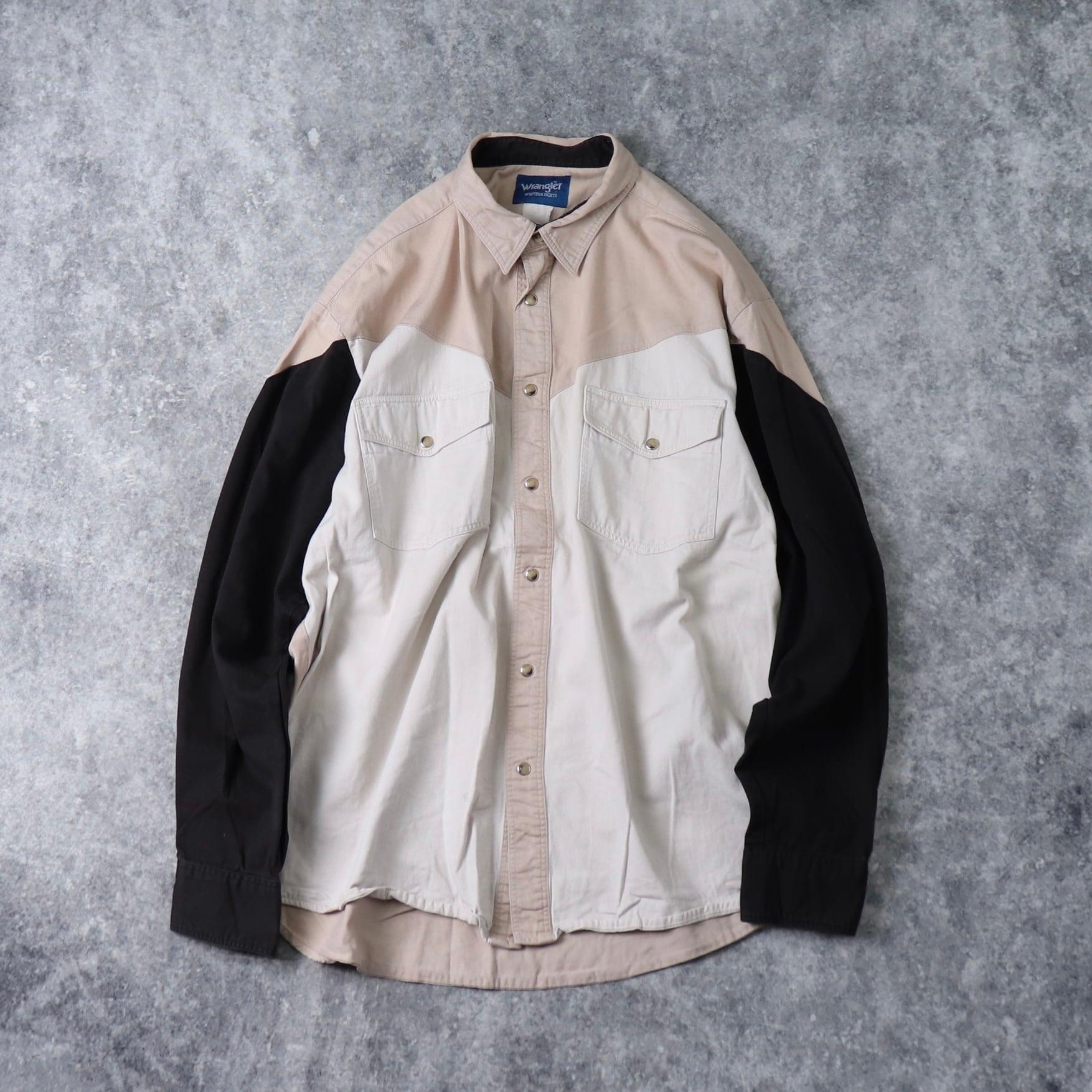 """90年代 """" Wrangler """" ラングラー ウエスタンシャツ クレイジーパターン メンズXL 古着 A450"""