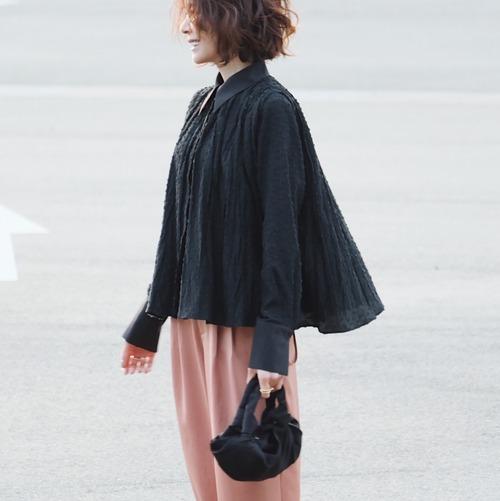 KU-UM×chika ドットジャガードシャツ ブラック