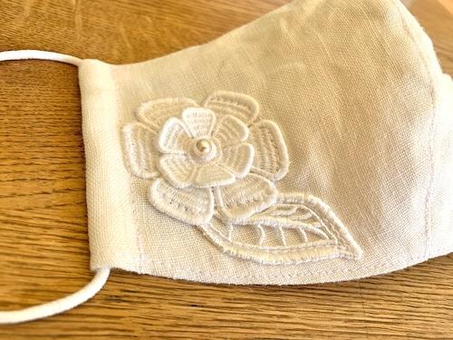 大人のレースマスク⑪ solid lace linen right