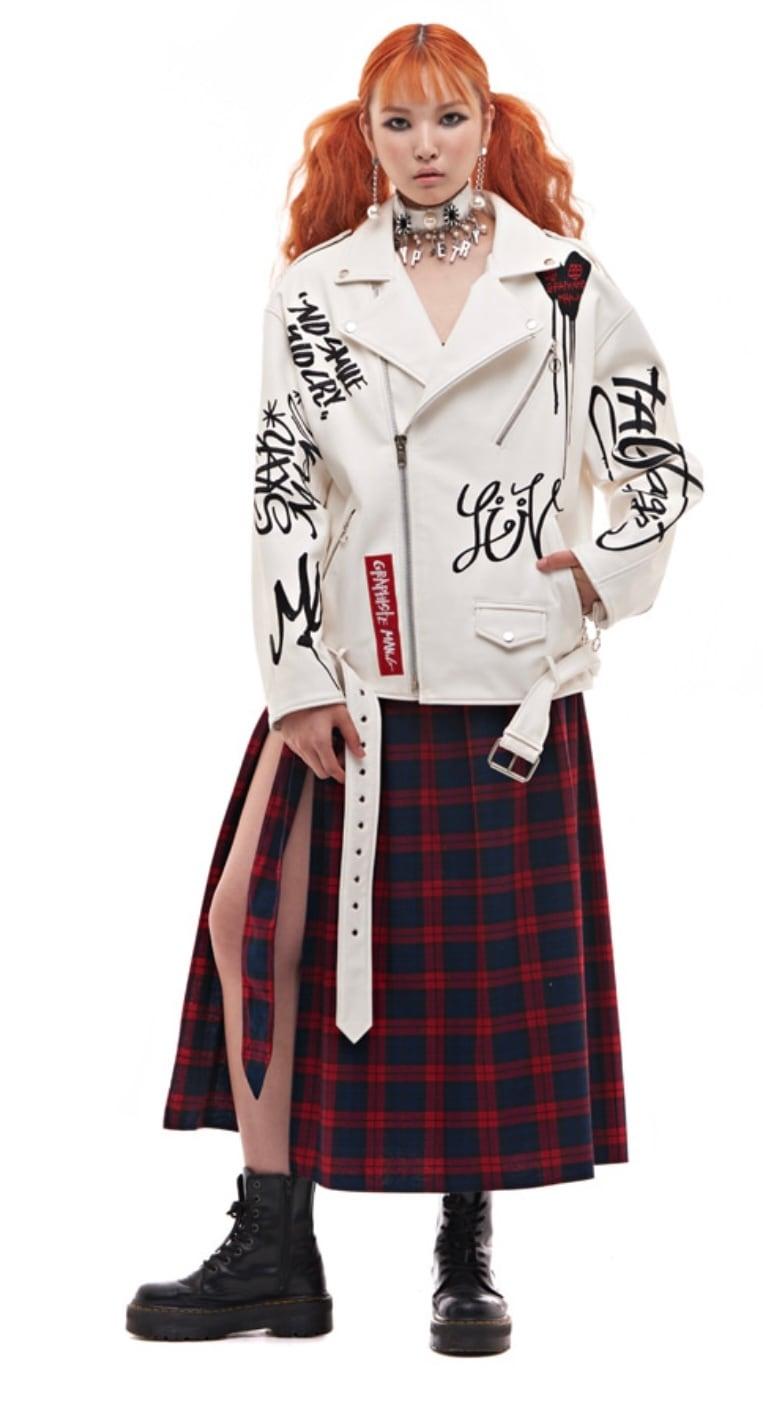 【MAN-G】英字ロゴ刺繍ラムライダースジャケット[WHITE]