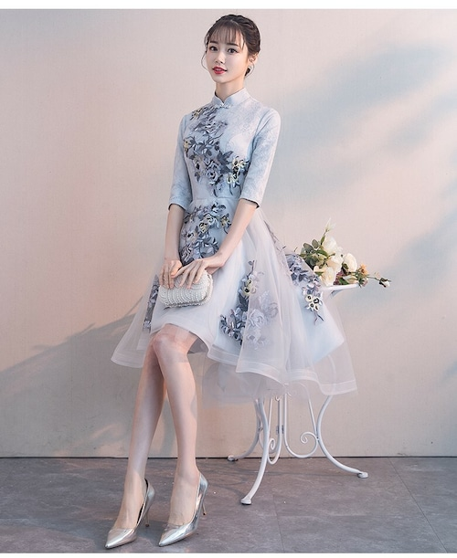 チャイナ風フィッシュテールドレス ショート丈 レトロ 刺繡 パーティー 二次会 パーティー お呼ばれ wb042