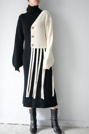 MIKAGE SHIN / Cardigan Layered Asymmetry Knit Dress