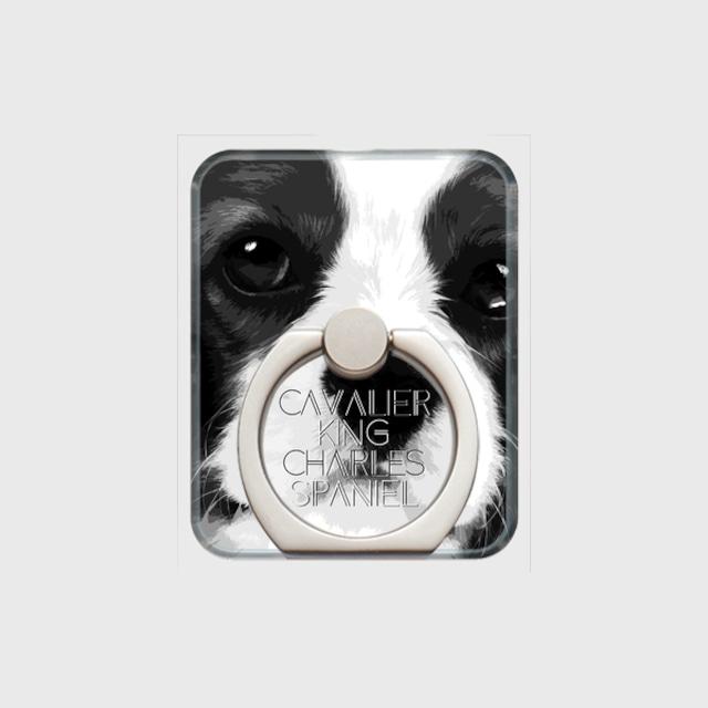 キャバリアキングチャールズスパニエル おしゃれな犬スマホリング【IMPACT -shirokuro- 】