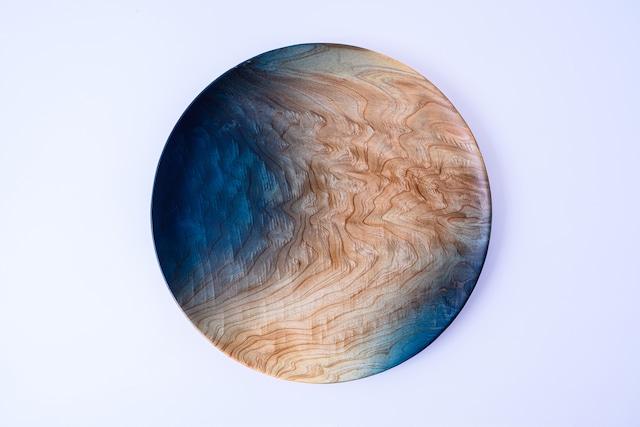 【舞工房】藍舞皿 二部染め 天然杉30cm
