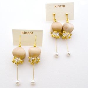 kincot ウッド×パールピアス・イヤリング(ナチュラル)