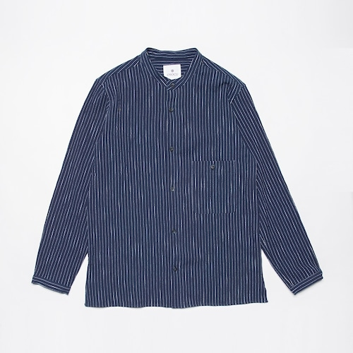 <OSOCU> Bingo-fushiori band collar shirt 備後節織 節縞 変形バンドカラーシャツ 藍染 日本製