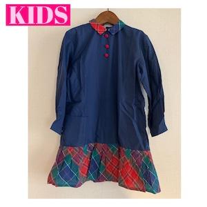 【送料無料】【KIDS】French vintage 70's navy and checkered nylon dress - Size 7 years old-