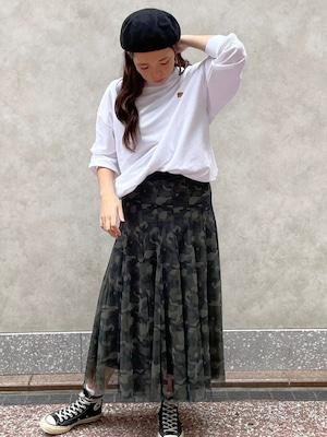 迷彩柄チュールスカート[Color:グリーン系]