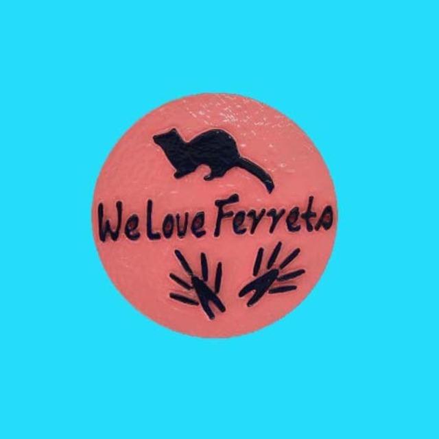 We Love Ferrets マグネットステッカー ⑤ キャスト製(直径80mm)(ピンク・文字:ネイビー)送料込み