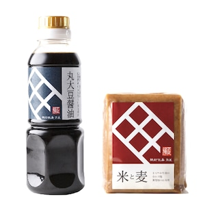 おてがるセット7(送料無料)角屋の調味料(丸大豆醤油300ml+「米と麦」合わせ味噌500g)