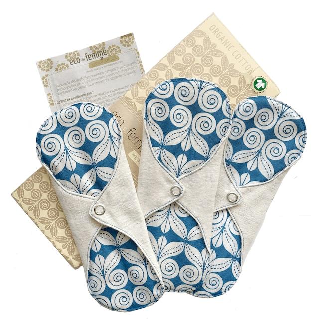 軽い日用(防水あり)3枚セット  肌面:無漂白フランネル/3 Pantyliners - Natural Organic