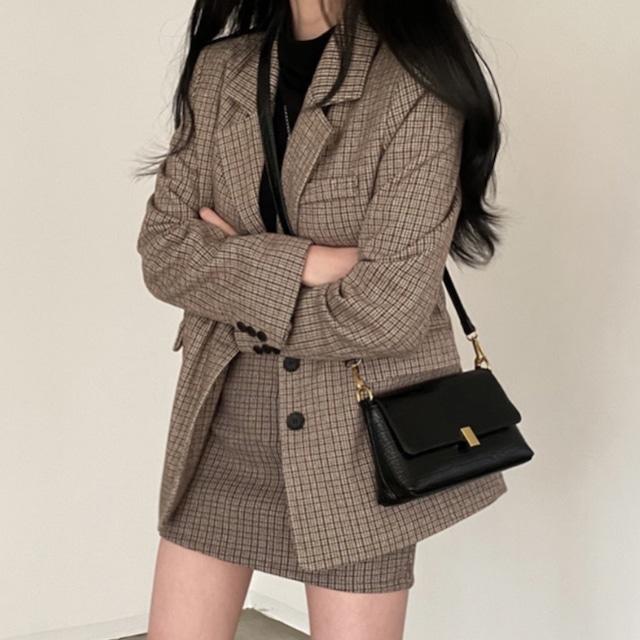 レトロチェック柄ジャケット+ミニスカート S4695