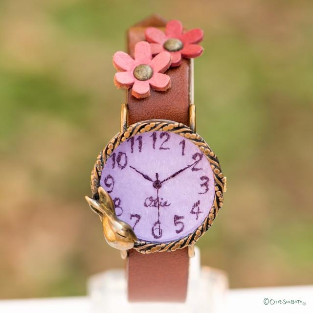 夢みるうさぎ腕時計Mラベンダー